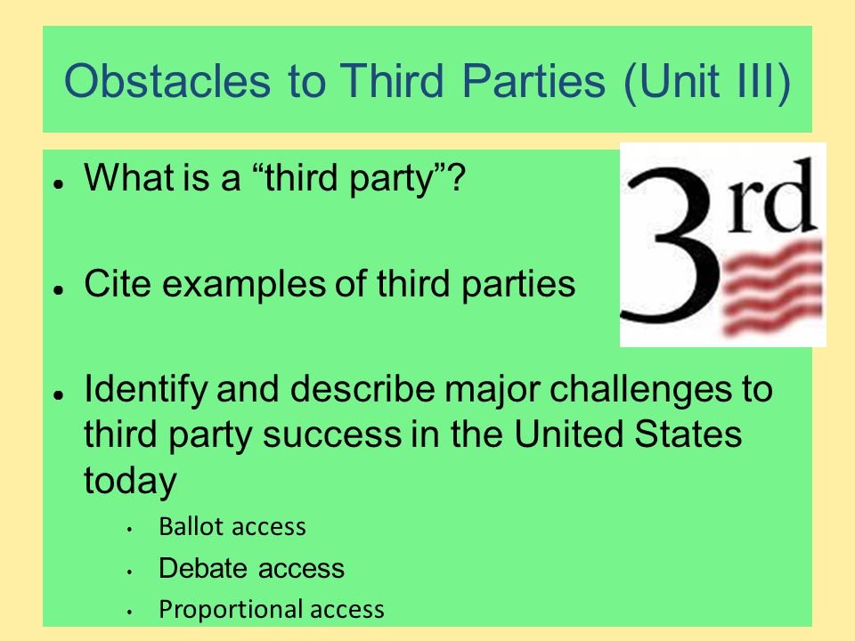 Obstacles to Third Parties (Unit III)