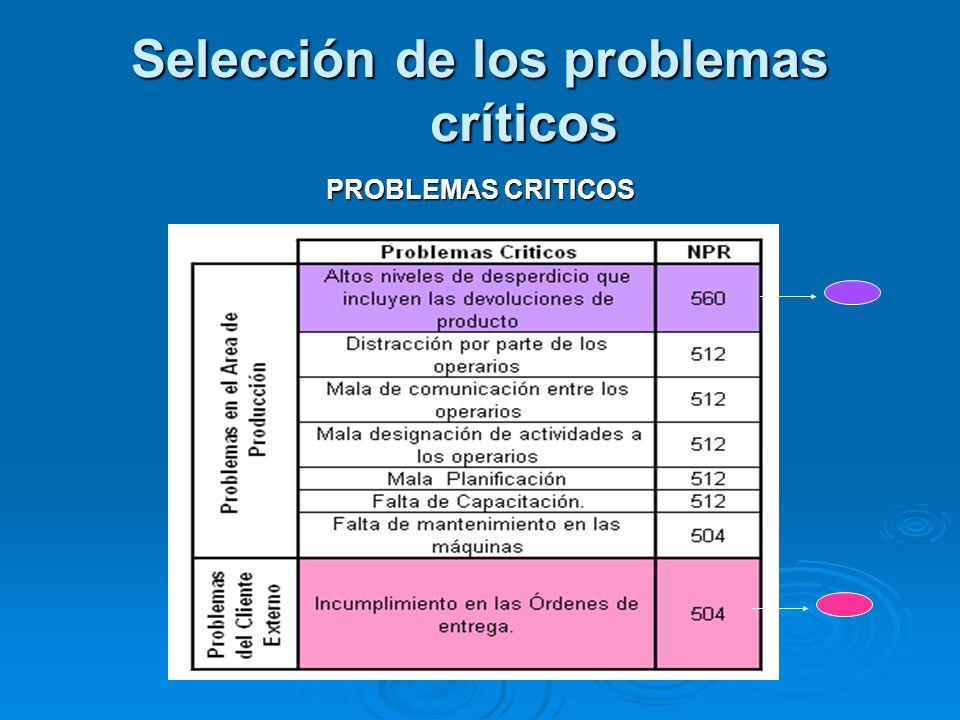 Selección de los problemas críticos