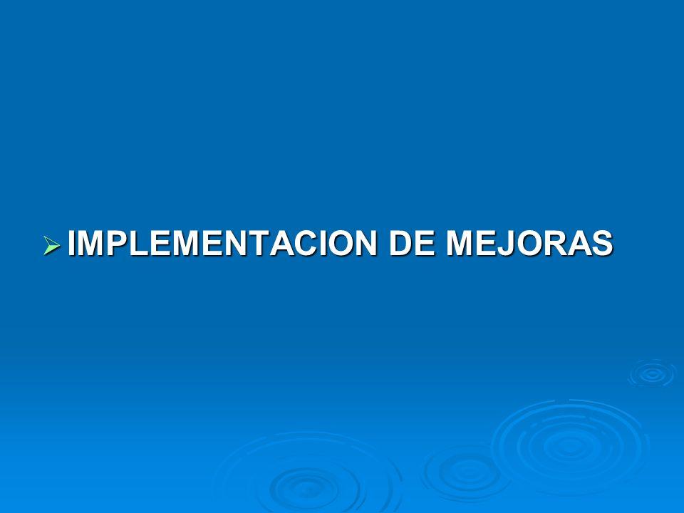 IMPLEMENTACION DE MEJORAS