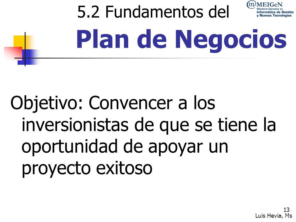 5.2 Fundamentos del Plan de Negocios.