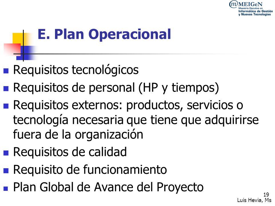 E. Plan Operacional Requisitos tecnológicos
