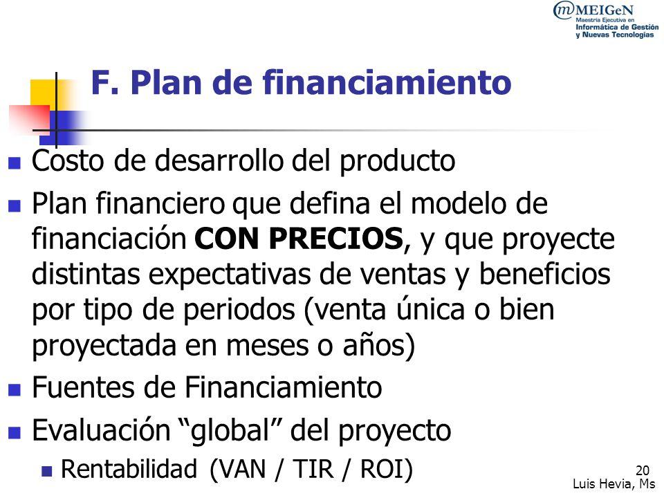 F. Plan de financiamiento