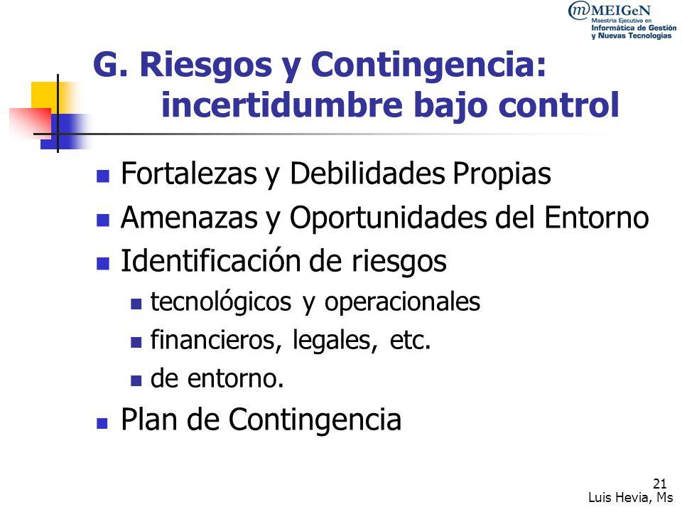 G. Riesgos y Contingencia: incertidumbre bajo control