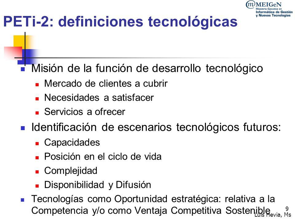 PETi-2: definiciones tecnológicas