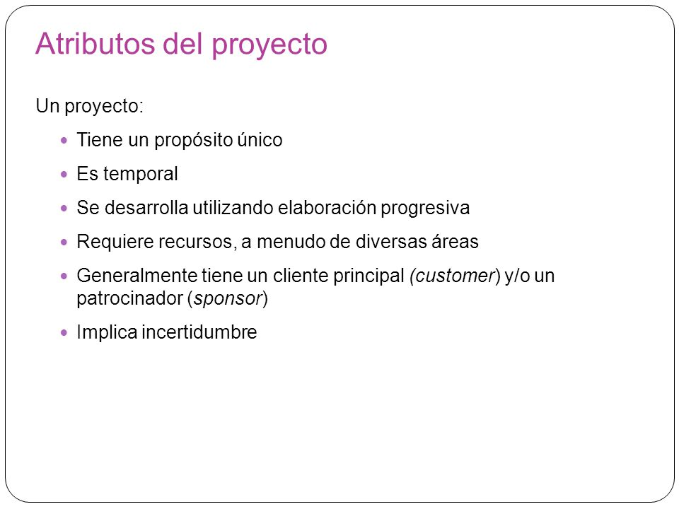 Atributos del proyecto