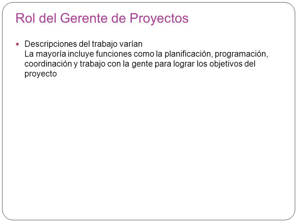 Rol del Gerente de Proyectos