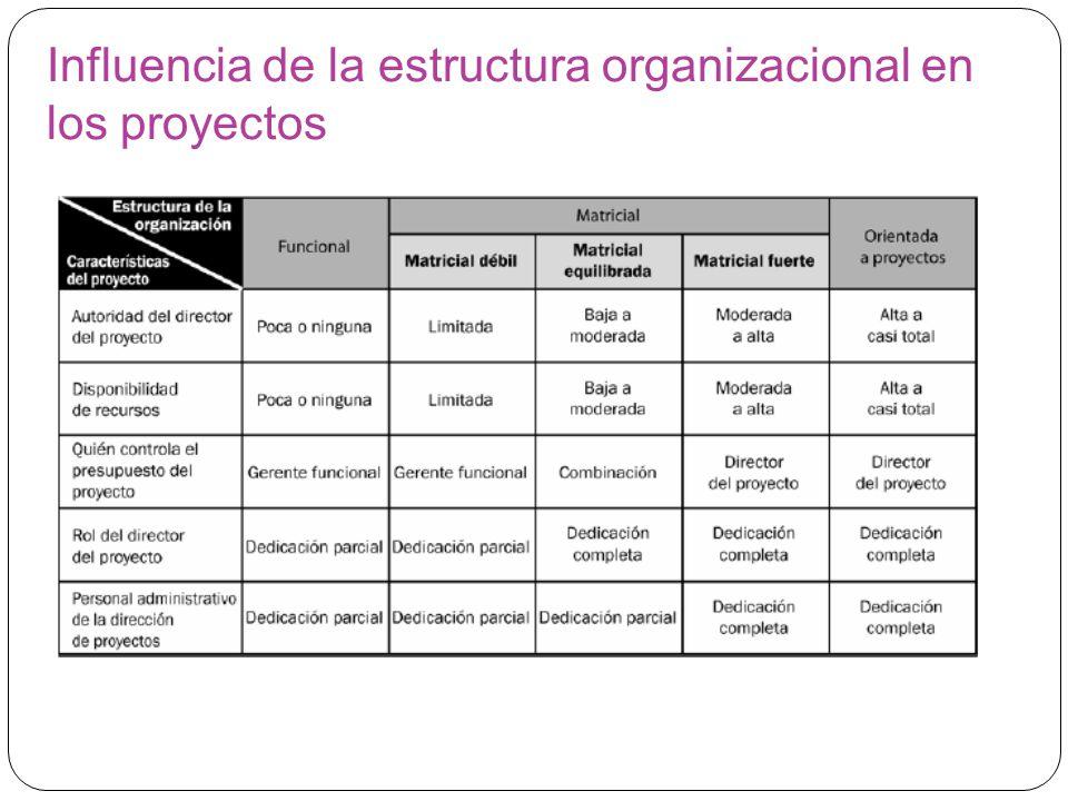 Influencia de la estructura organizacional en los proyectos