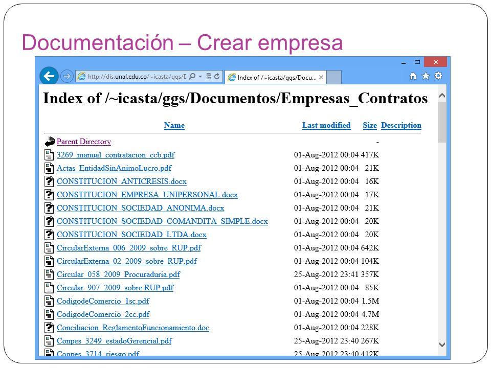 Documentación – Crear empresa