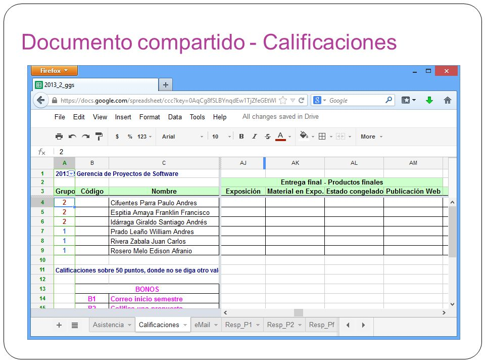Documento compartido - Calificaciones
