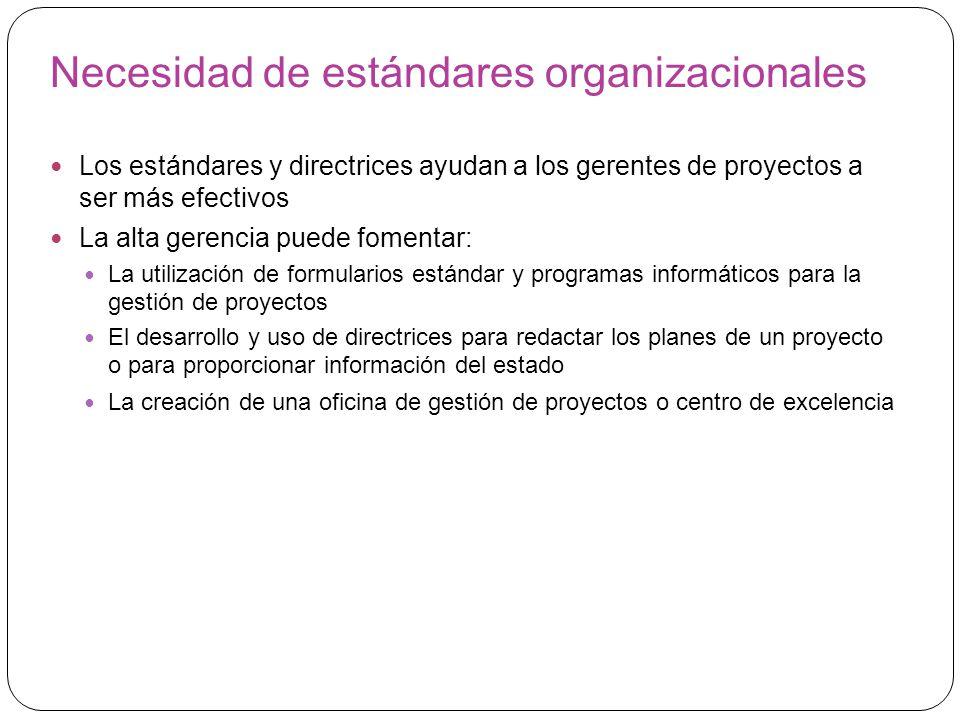 Necesidad de estándares organizacionales