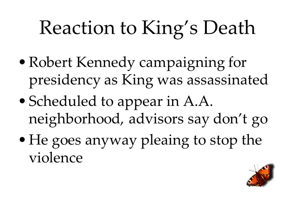 Reaction to King's Death