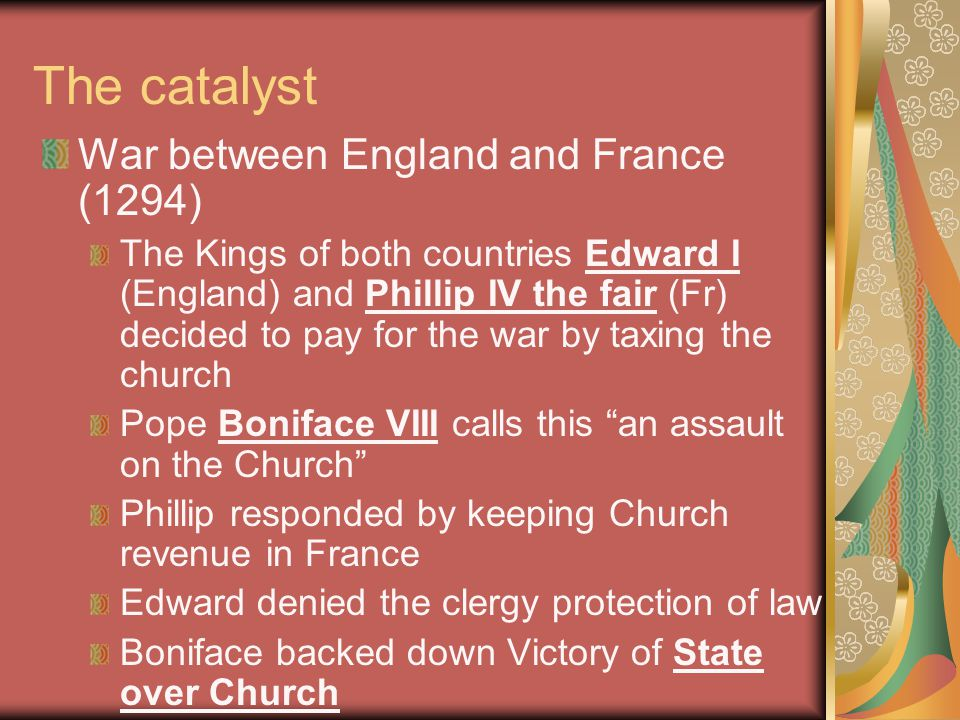 The catalyst War between England and France (1294)