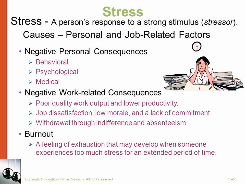 Stress Stress - A person's response to a strong stimulus (stressor).
