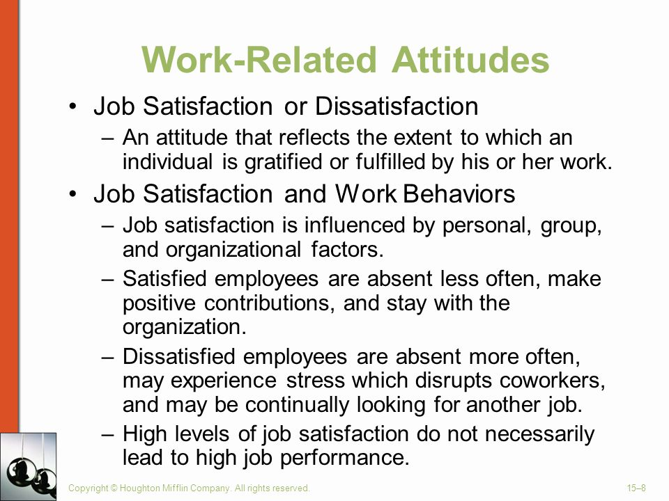 job satisfaction work attitude and stress Studying the relation of job stress with job satisfaction and organizational productivity among positive attitude towards job are led to more work attempt and.