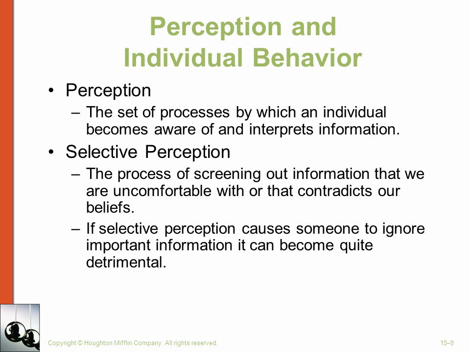 Perception and Individual Behavior