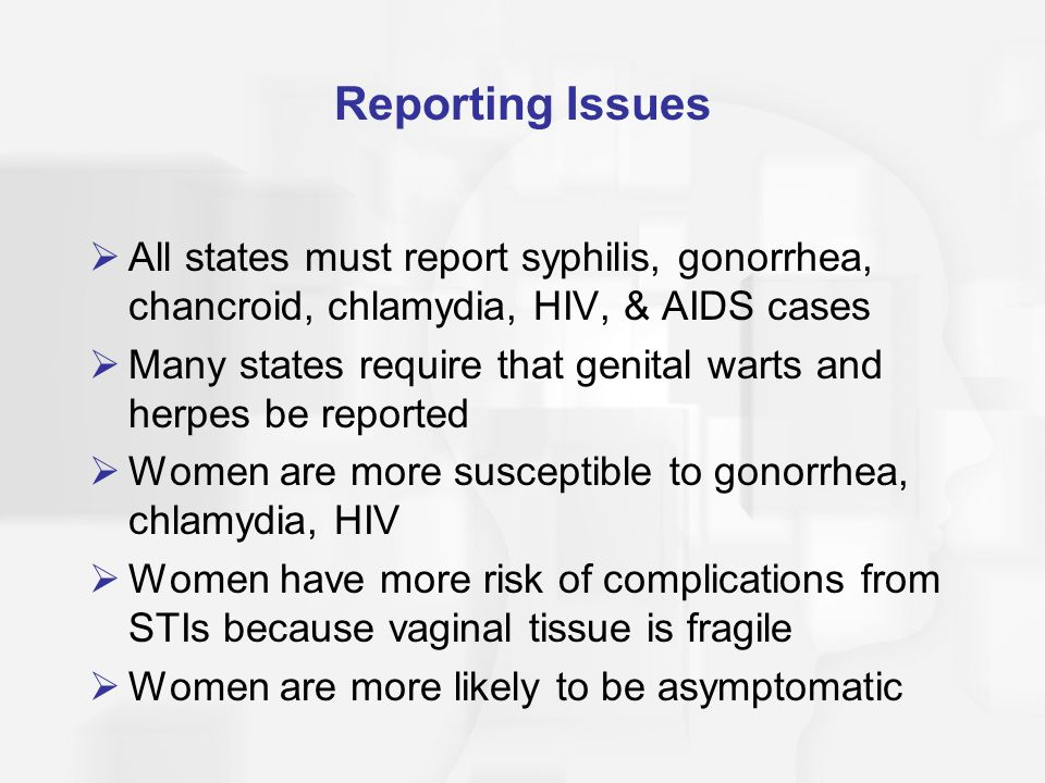 Reporting Issues All states must report syphilis, gonorrhea, chancroid, chlamydia, HIV, & AIDS cases.