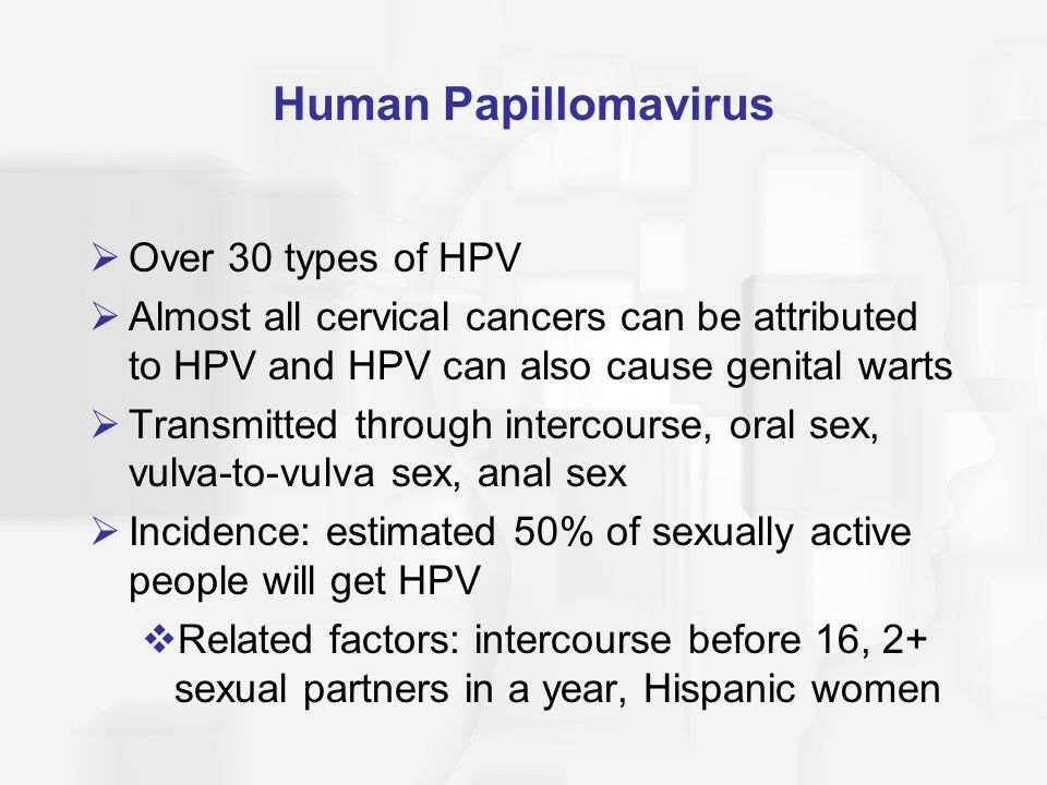 Human Papillomavirus Over 30 types of HPV