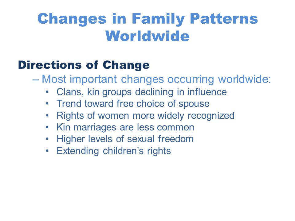 Changes in Family Patterns Worldwide