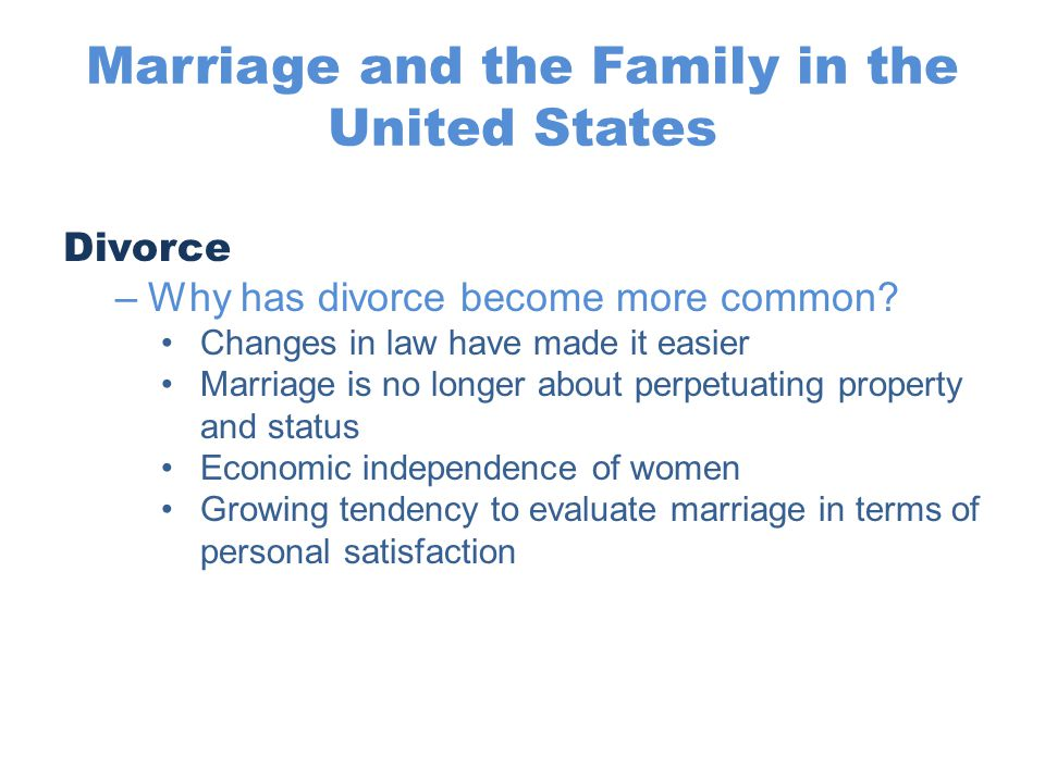 Marriage and the Family in the United States