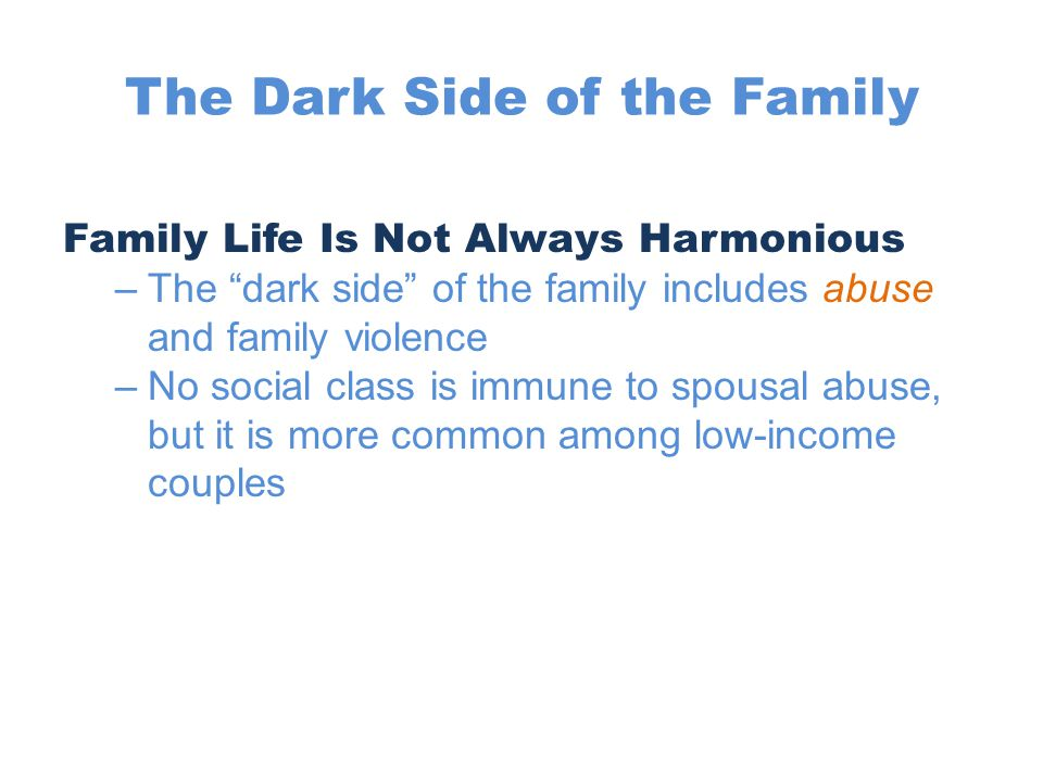 dark side of the family This text provides for the first time in book form an exploration of the communicative aspects of the darker side of family life, 10% off your order with code yousave.