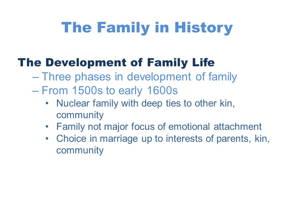 The Family in History The Development of Family Life