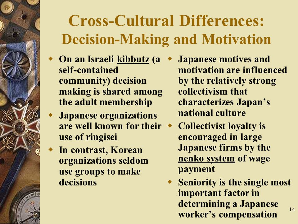 Cross-Cultural Differences: Decision-Making and Motivation