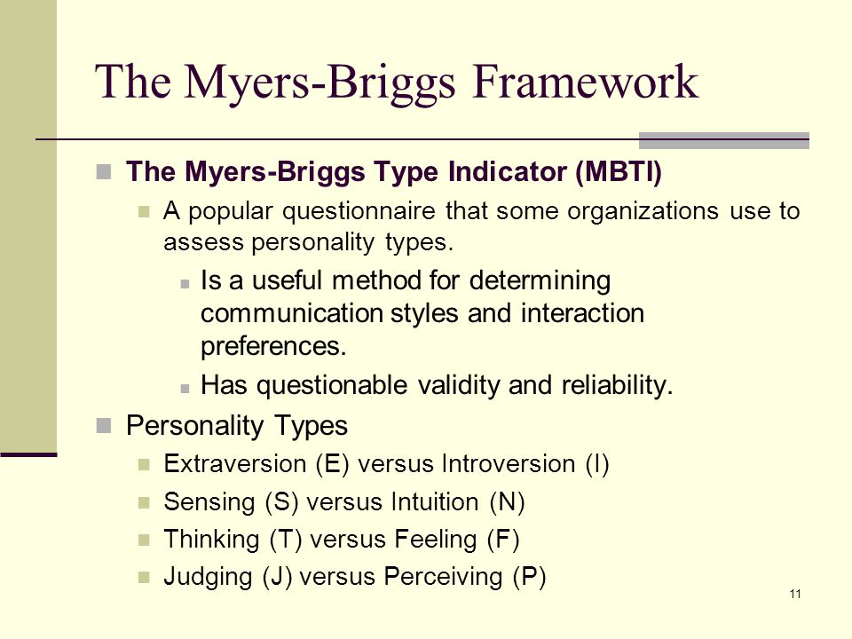 The Myers-Briggs Framework