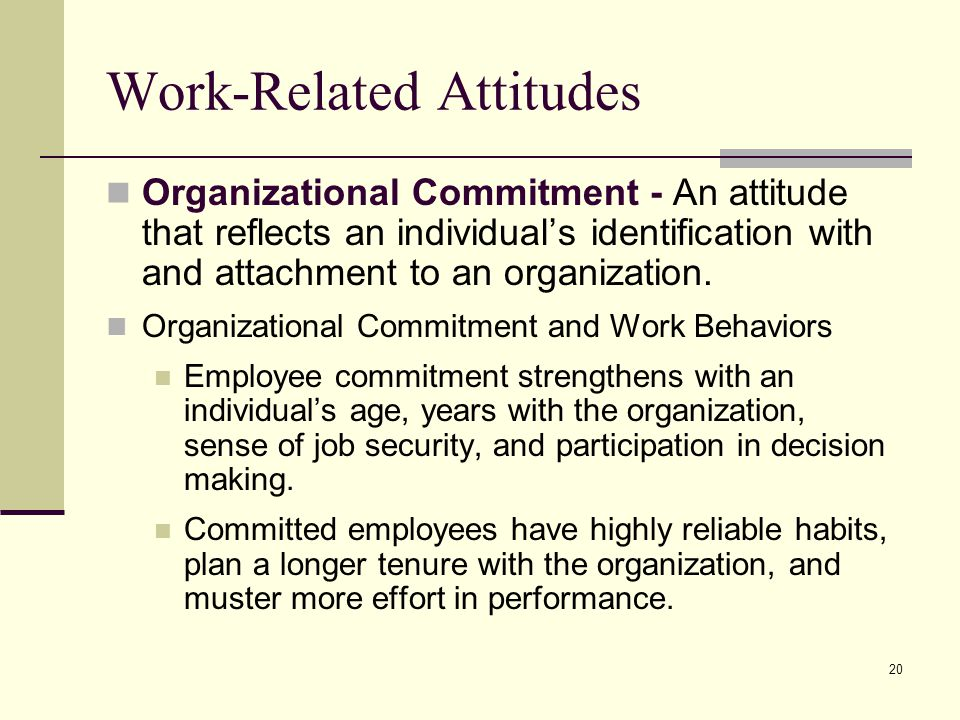 organizational behavior related to high performance workplaces 26 chapter 1 what is organizational behavior attitudes and stress employee attitudes are the evaluations employees make, ranging from positive to negative, about objects, people, or events.