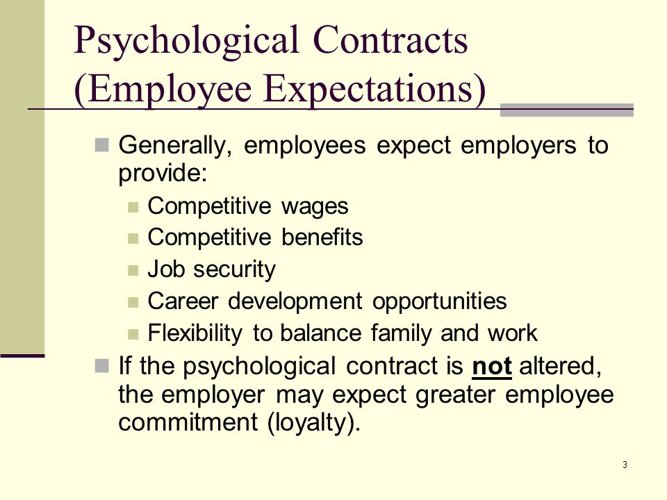 Psychological Contracts (Employee Expectations)