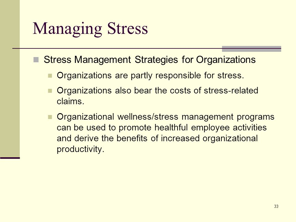 Managing Stress Stress Management Strategies for Organizations
