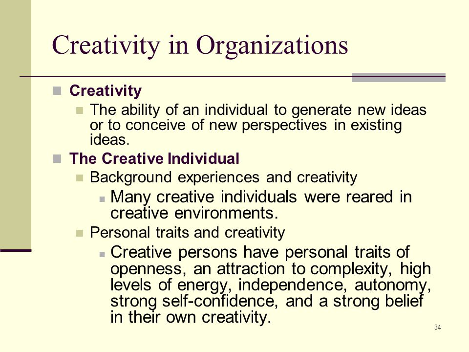 Creativity in Organizations