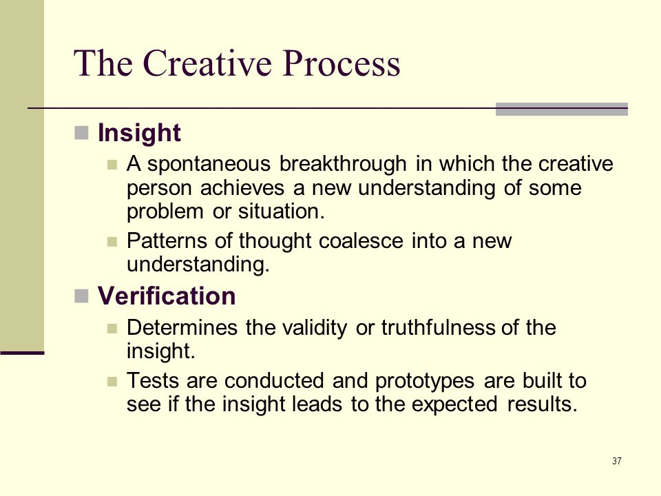 The Creative Process Insight Verification