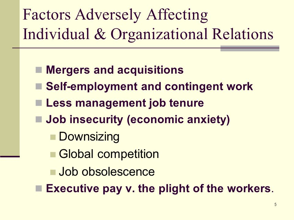 Factors Adversely Affecting Individual & Organizational Relations