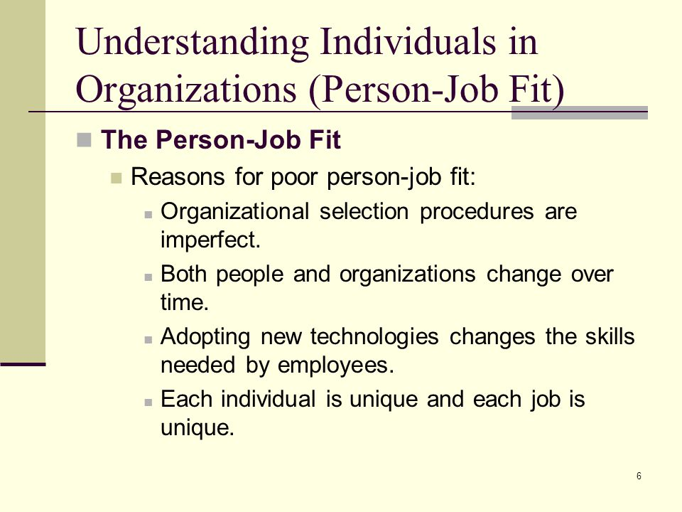 Understanding Individuals in Organizations (Person-Job Fit)