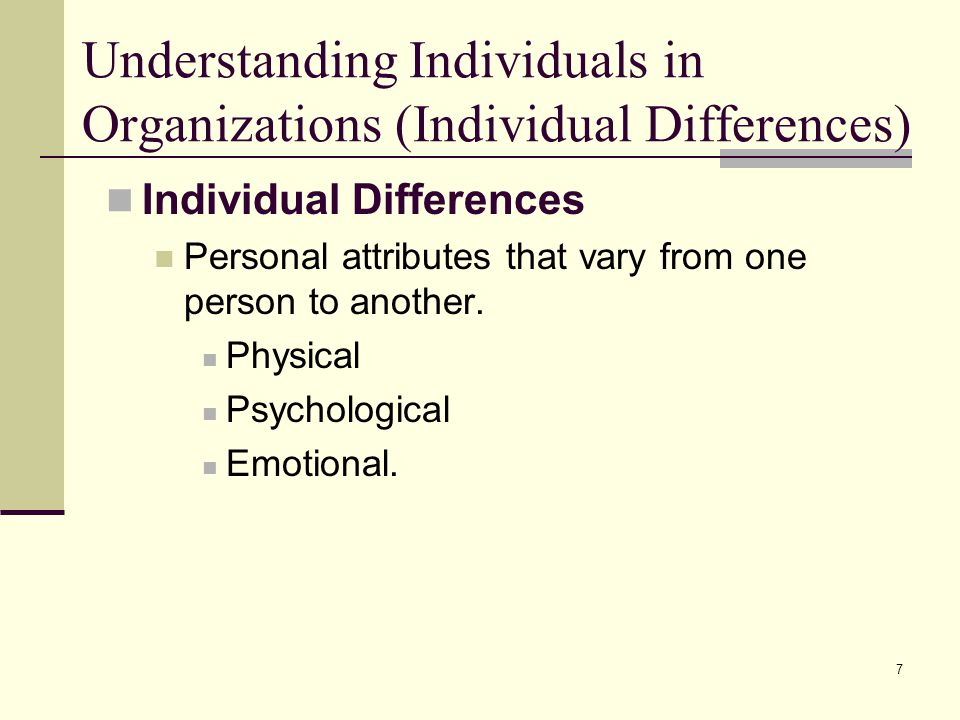 Understanding Individuals in Organizations (Individual Differences)