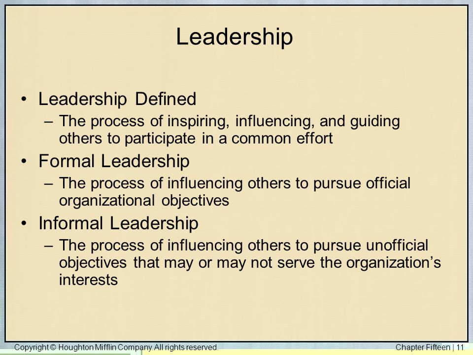 Leadership Leadership Defined Formal Leadership Informal Leadership