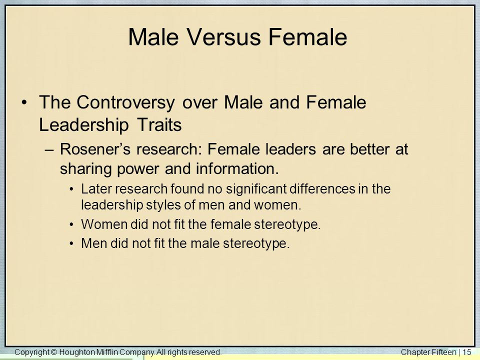 Male Versus Female The Controversy over Male and Female Leadership Traits.