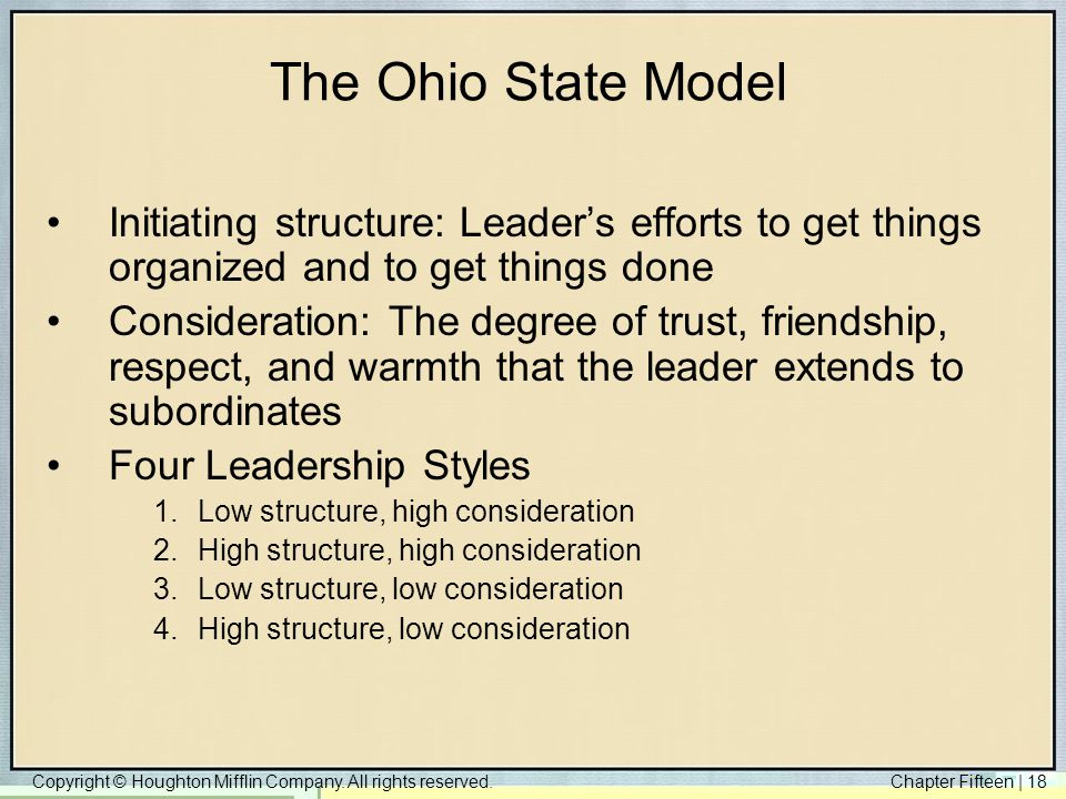 The Ohio State Model Initiating structure: Leader's efforts to get things organized and to get things done.
