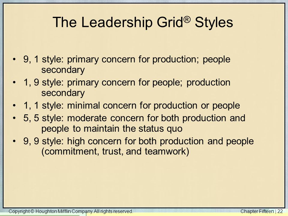 The Leadership Grid® Styles