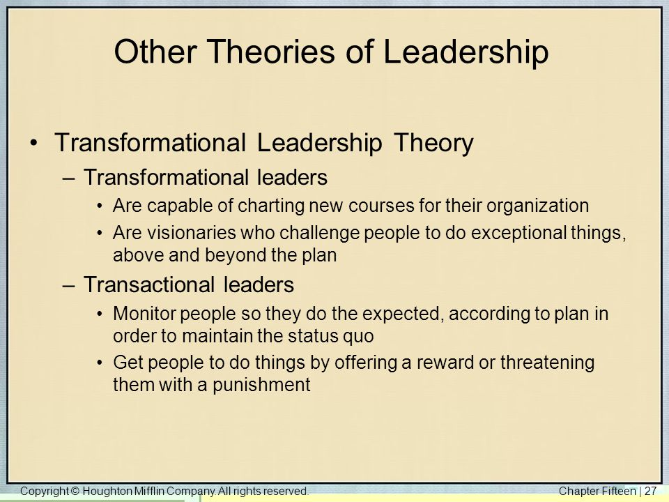 Other Theories of Leadership