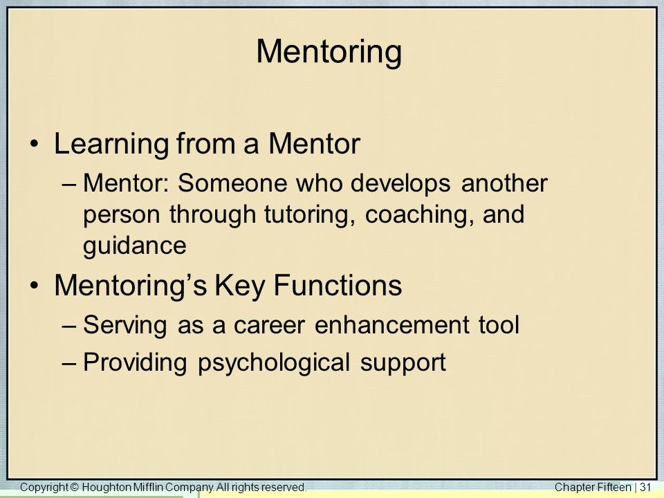 Mentoring Learning from a Mentor Mentoring's Key Functions