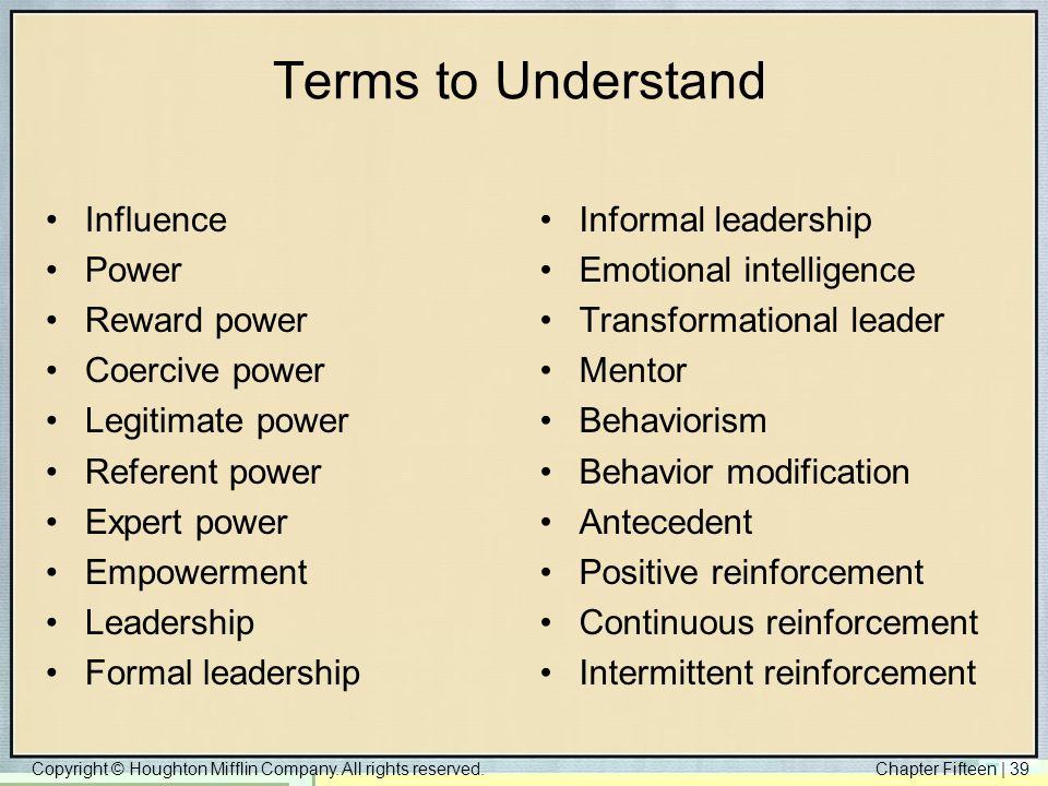Terms to Understand Influence Power Reward power Coercive power