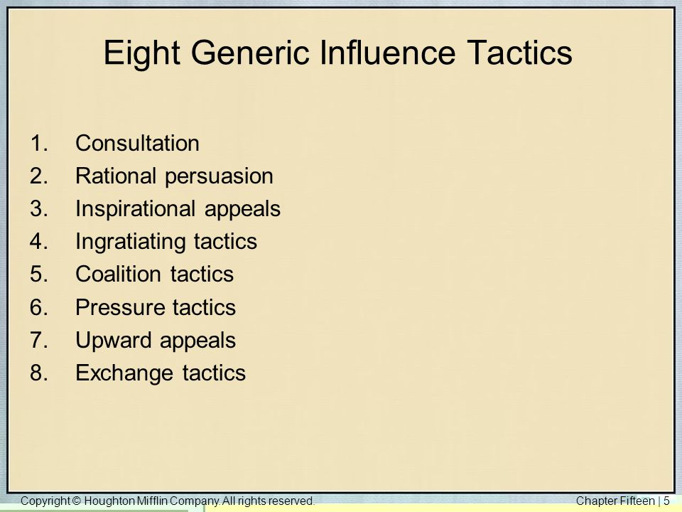 Eight Generic Influence Tactics
