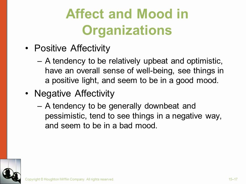 Affect and Mood in Organizations