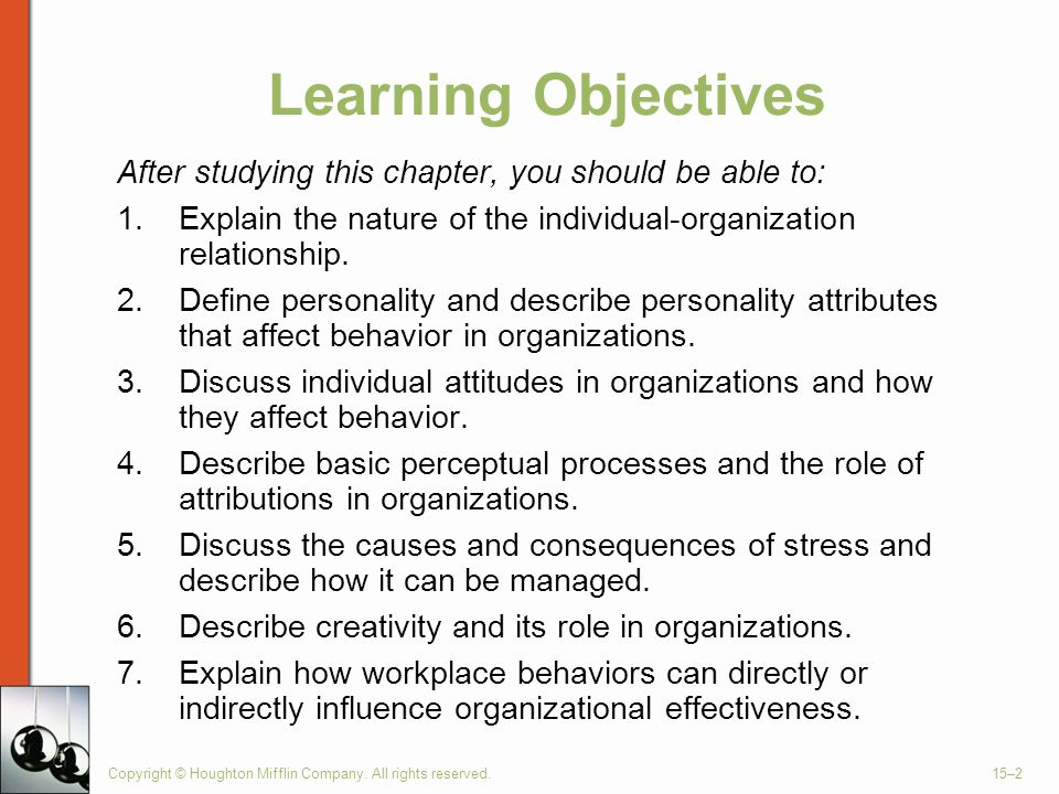 Learning Objectives After studying this chapter, you should be able to: Explain the nature of the individual-organization relationship.