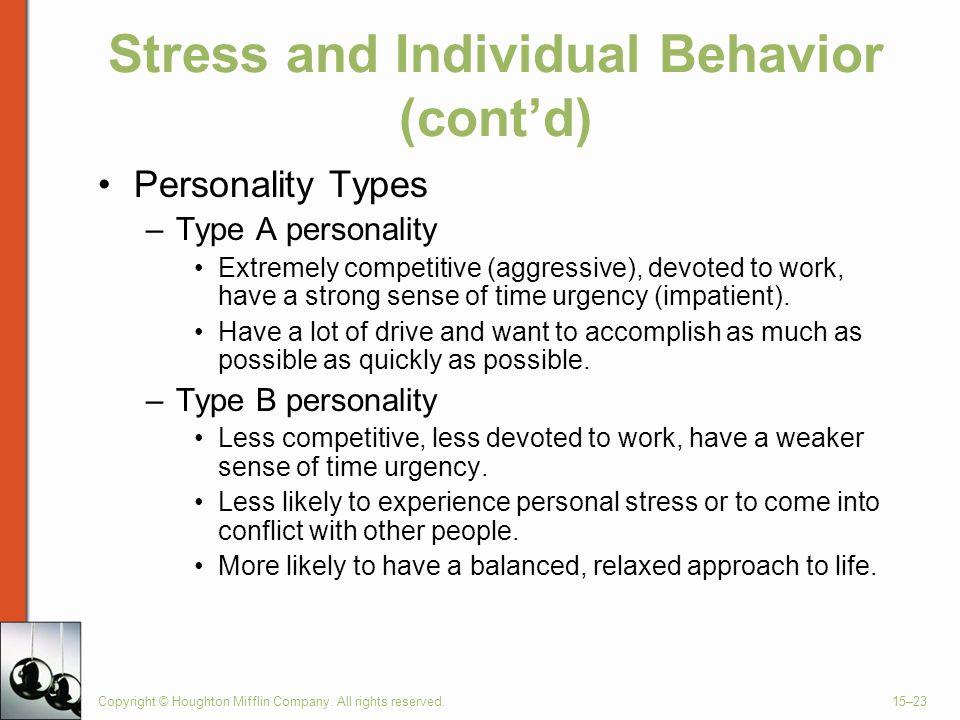 Stress and Individual Behavior (cont'd)