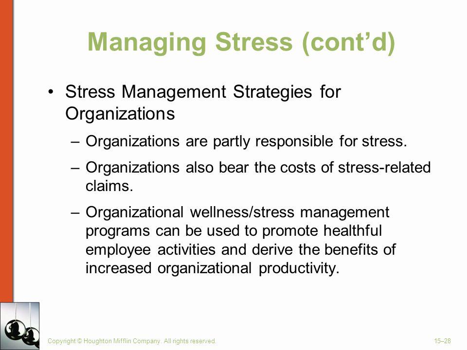 Managing Stress (cont'd)