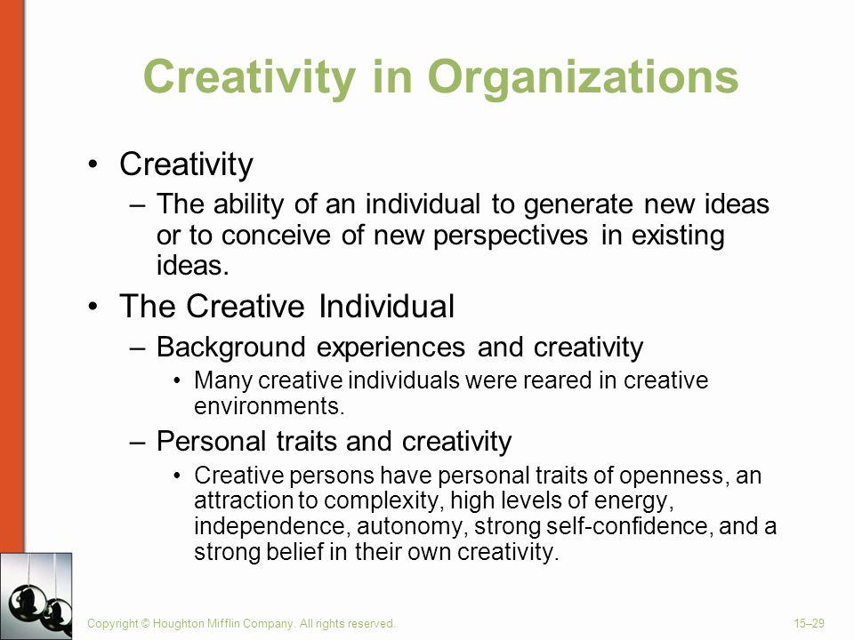 Creativity in Organizations