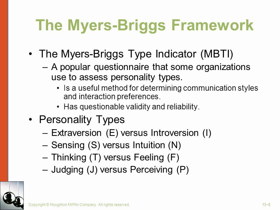 The Myers-Briggs Framework