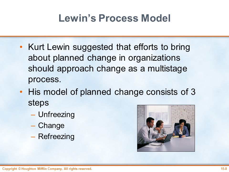 lewins model of organisational change essay Managing organizational change is the process of planning and implementing change in organizations in such a way as to minimize employee resistance and cost to the organization, while also maximizing the effectiveness of the change effort.